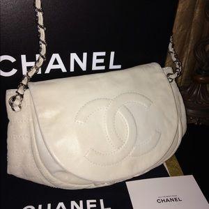 Chanel Large Half Moon Purse/Shoulder Bag w/Chain